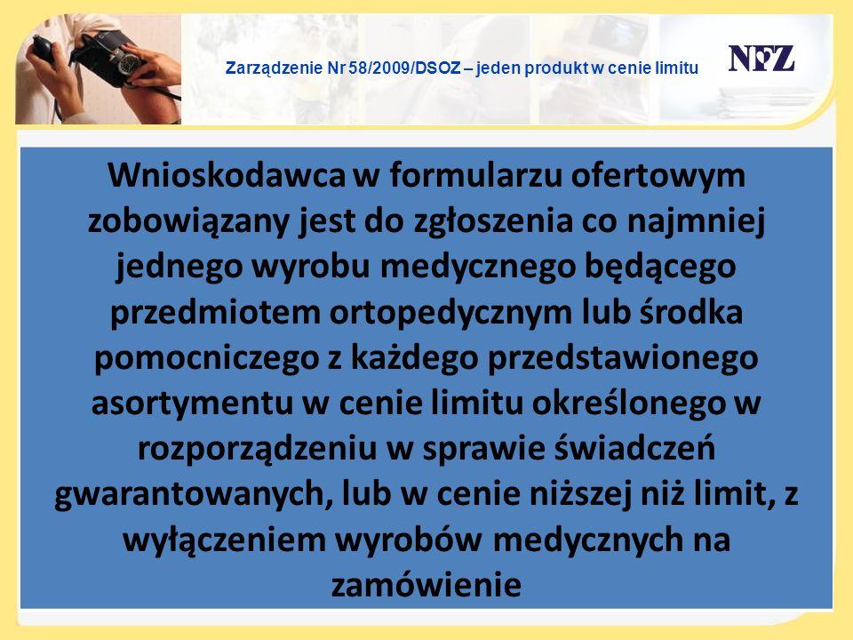 Zarządzenie Nr 58/2009/DSOZ – jeden produkt w cenie limitu