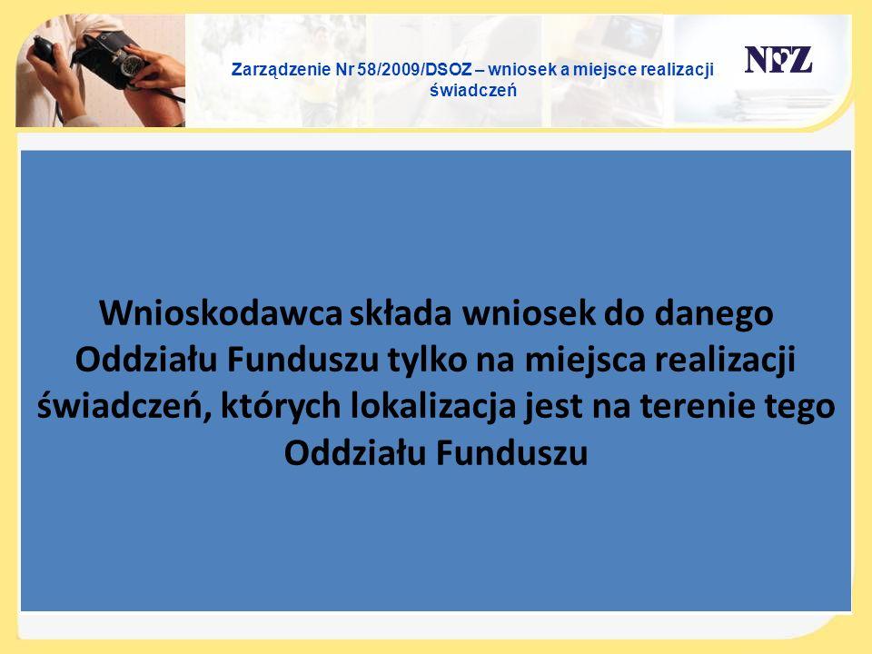 Zarządzenie Nr 58/2009/DSOZ – wniosek a miejsce realizacji świadczeń