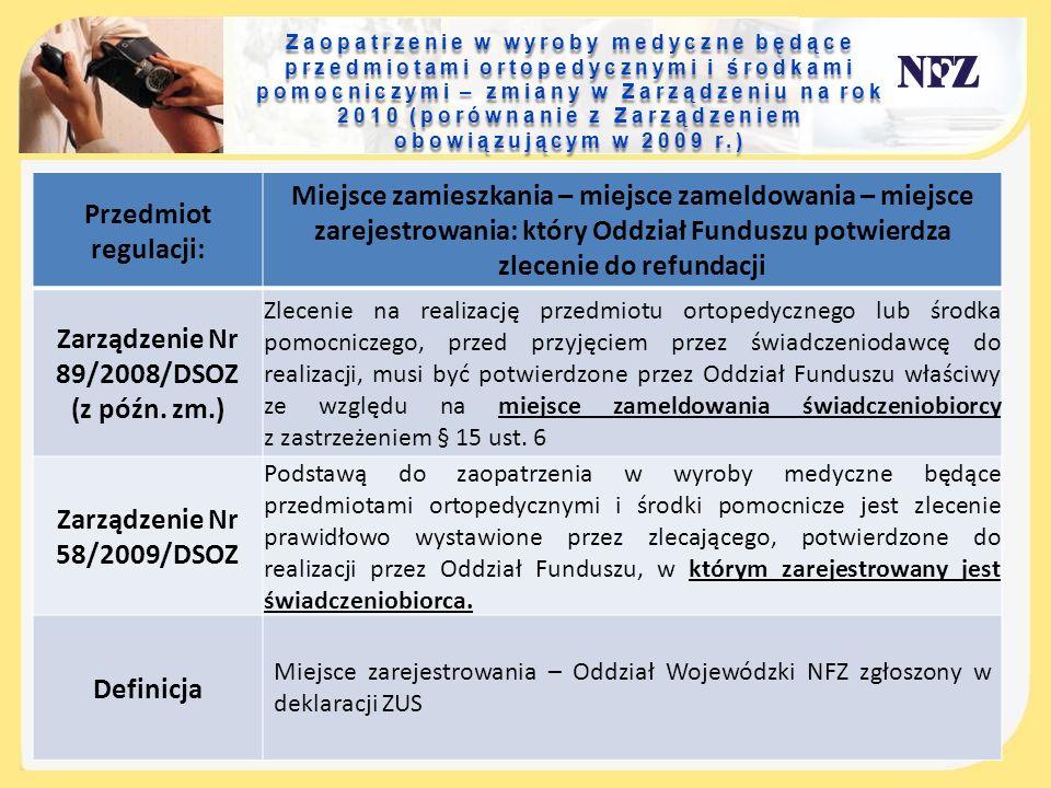 Zaopatrzenie w wyroby medyczne będące przedmiotami ortopedycznymi i środkami pomocniczymi – zmiany w Zarządzeniu na rok 2010 (porównanie z Zarządzeniem obowiązującym w 2009 r.)