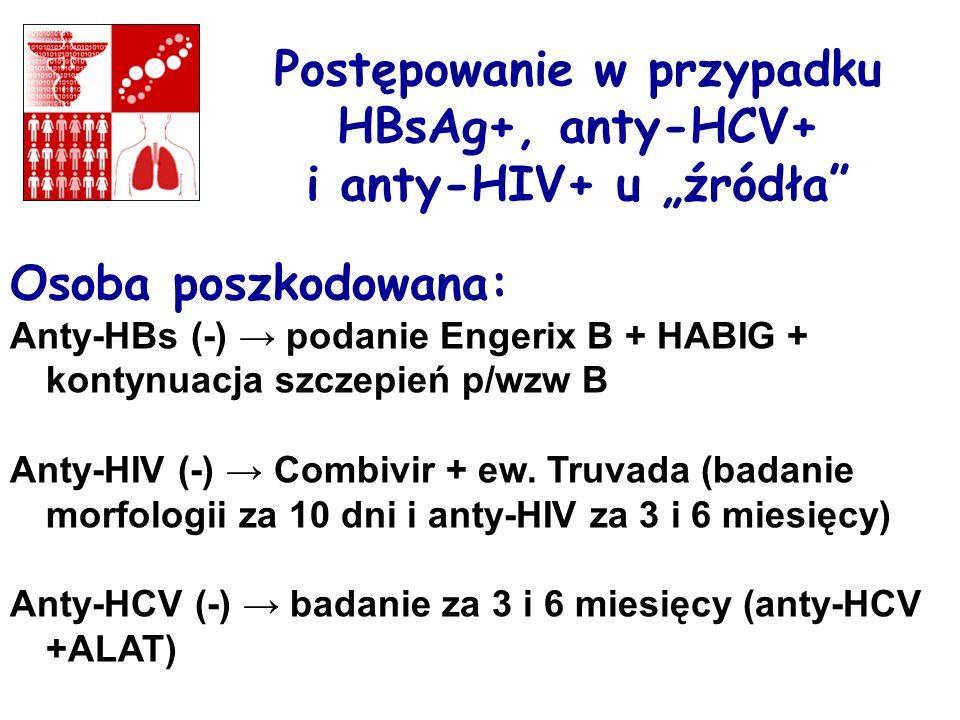 """Postępowanie w przypadku HBsAg+, anty-HCV+ i anty-HIV+ u """"źródła"""