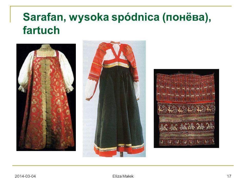 Sarafan, wysoka spódnica (понёва), fartuch