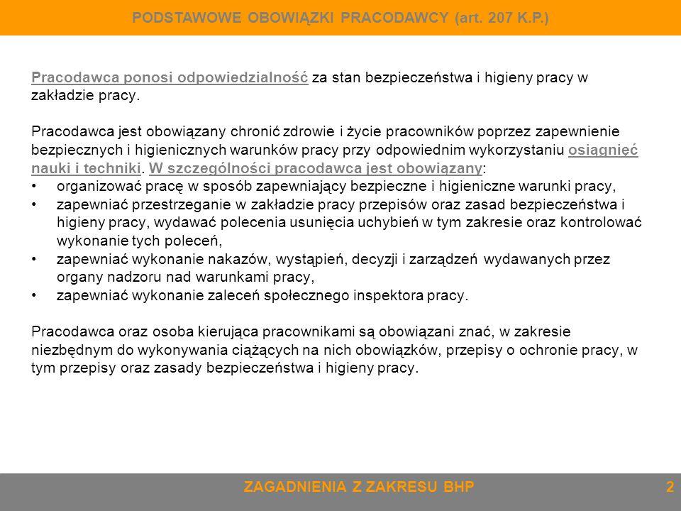 PODSTAWOWE OBOWIĄZKI PRACODAWCY (art. 207 K.P.)