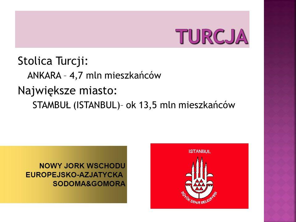 TURCJA Stolica Turcji: Największe miasto: ANKARA – 4,7 mln mieszkańców