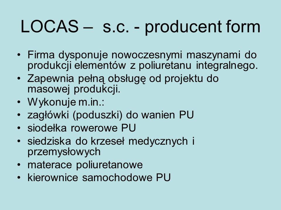 LOCAS – s.c. - producent form