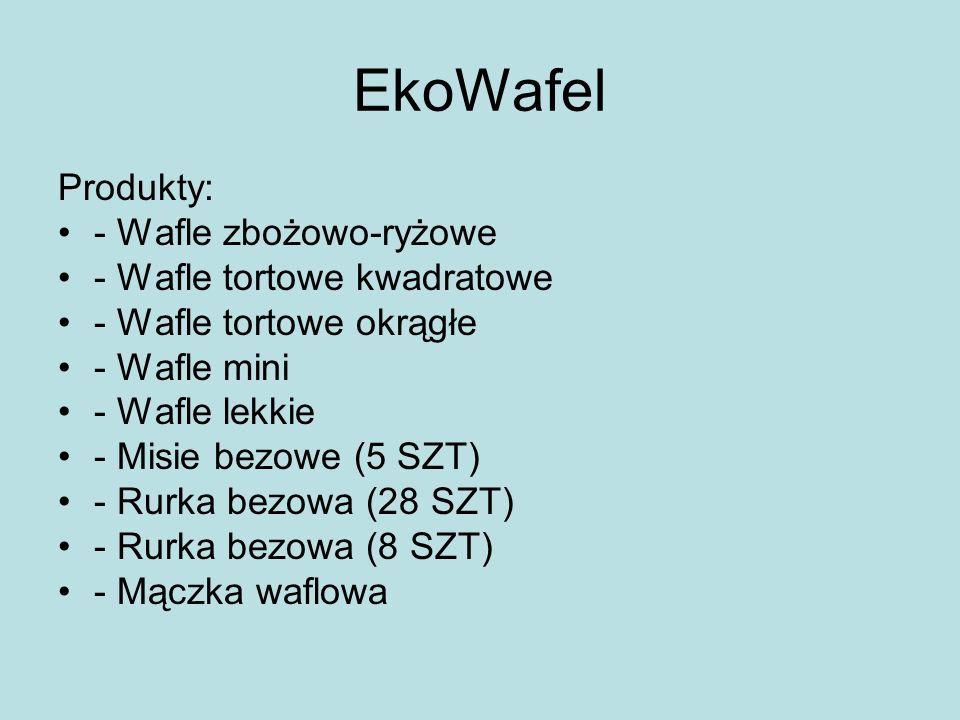 EkoWafel Produkty: - Wafle zbożowo-ryżowe - Wafle tortowe kwadratowe