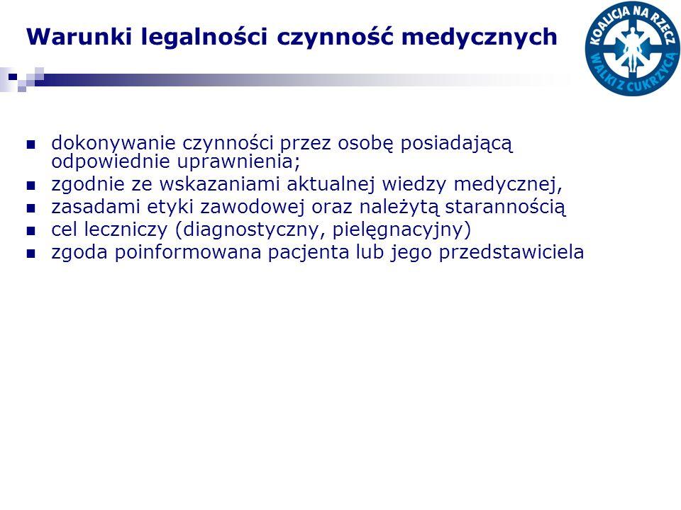 Warunki legalności czynność medycznych