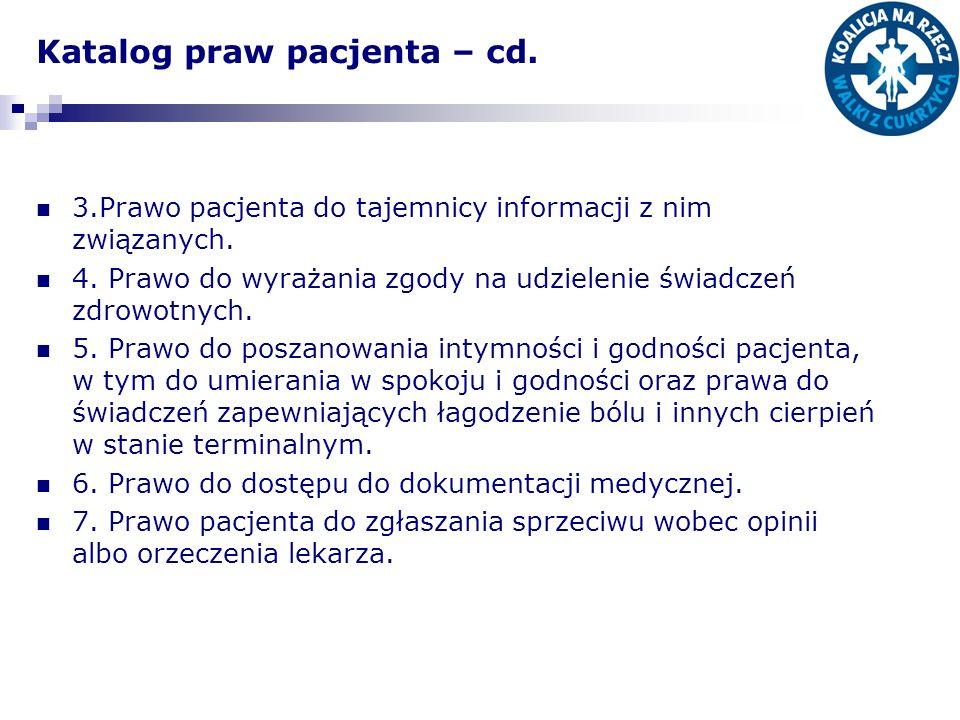 Katalog praw pacjenta – cd.
