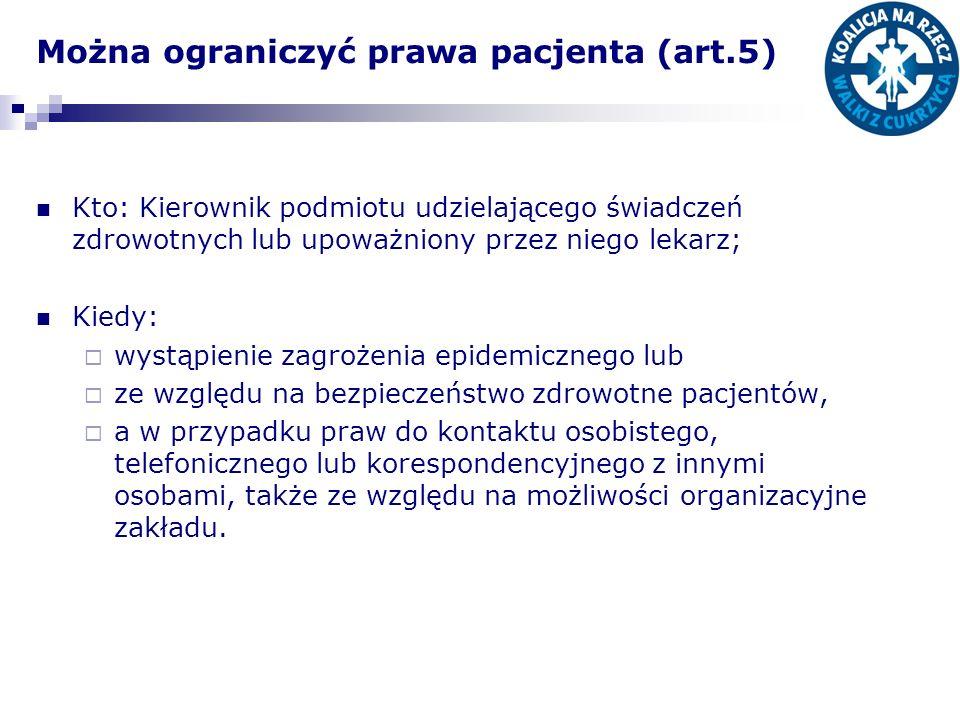 Można ograniczyć prawa pacjenta (art.5)