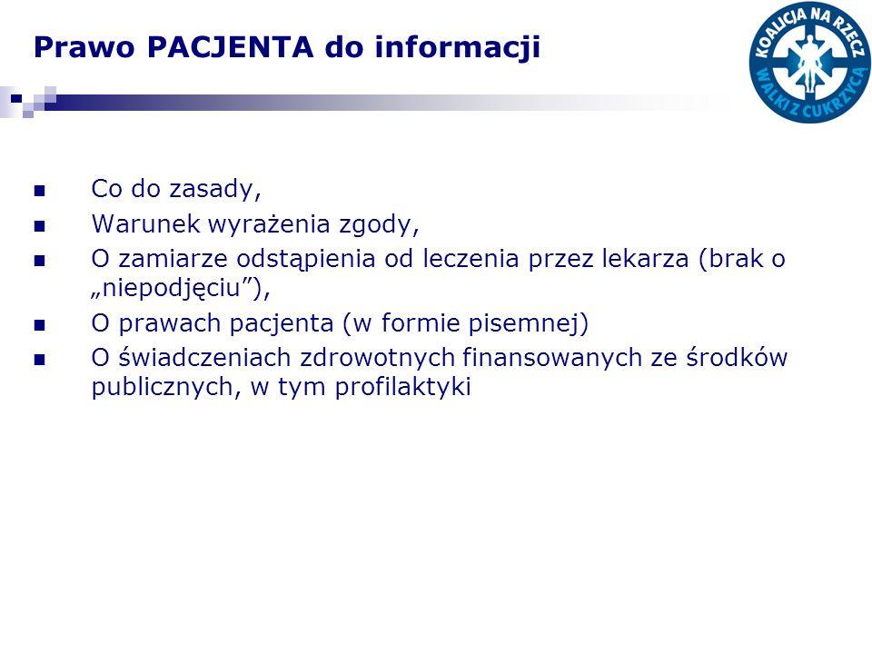 Prawo PACJENTA do informacji
