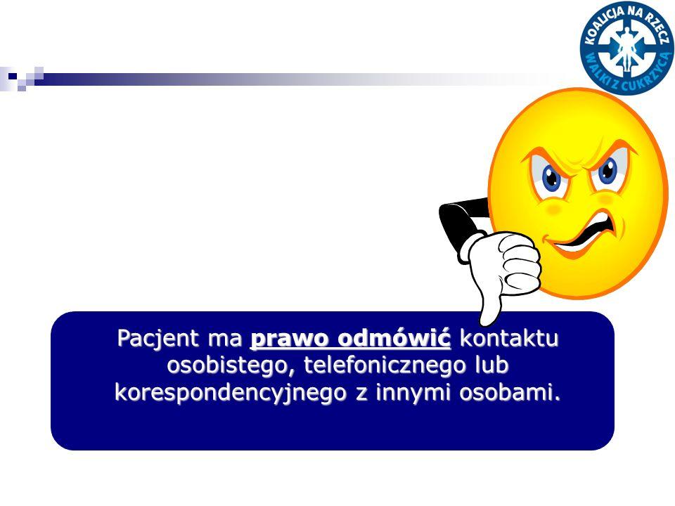 Pacjent ma prawo odmówić kontaktu osobistego, telefonicznego lub korespondencyjnego z innymi osobami.