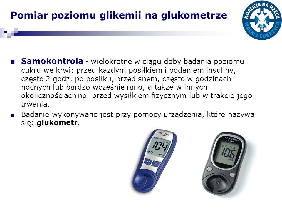 Pomiar poziomu glikemii na glukometrze