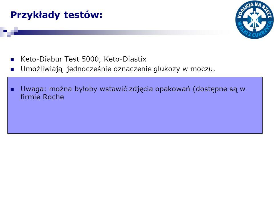 Przykłady testów: Keto-Diabur Test 5000, Keto-Diastix