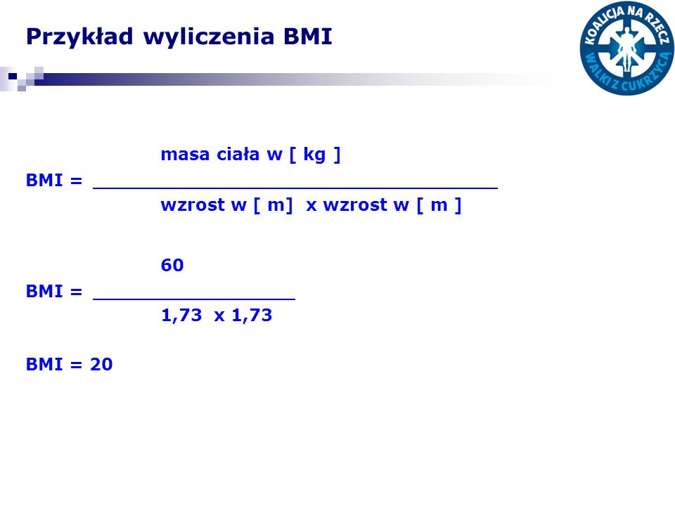 Przykład wyliczenia BMI