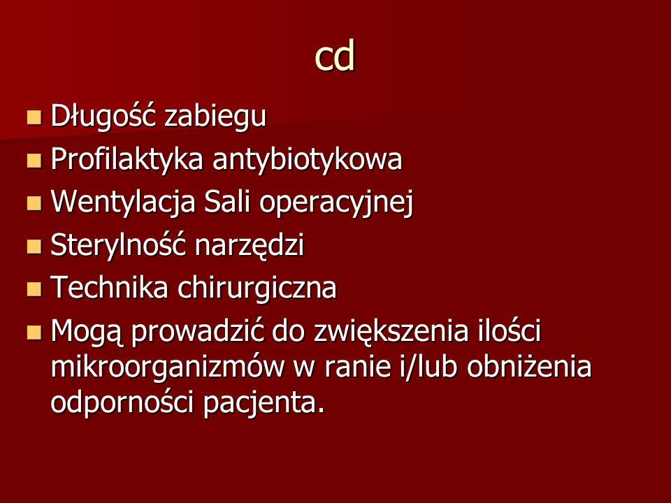cd Długość zabiegu Profilaktyka antybiotykowa