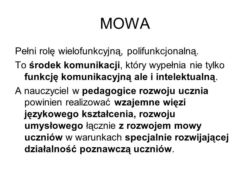 MOWA Pełni rolę wielofunkcyjną, polifunkcjonalną.