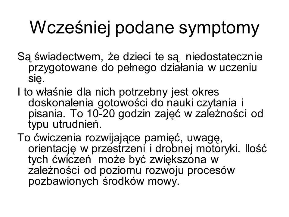 Wcześniej podane symptomy