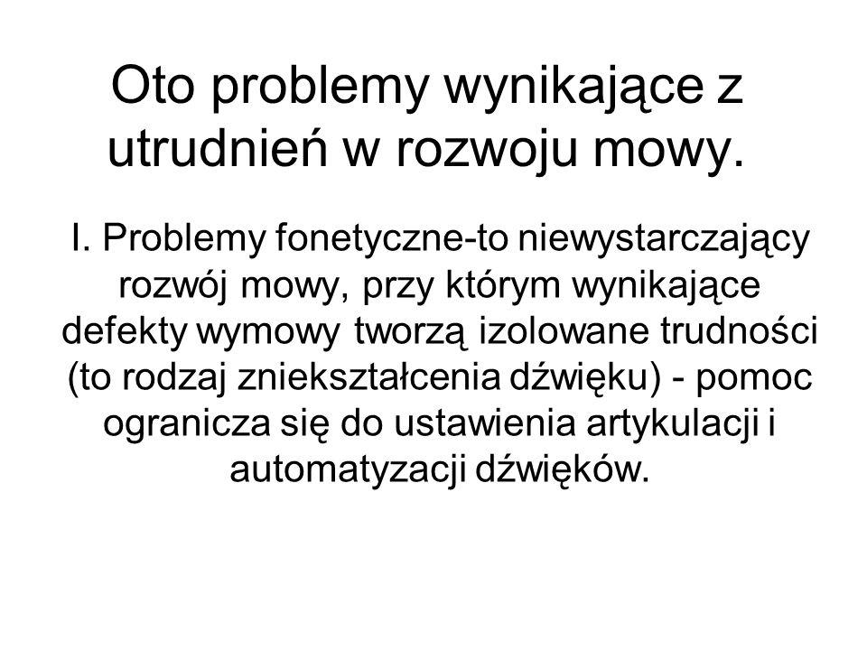 Oto problemy wynikające z utrudnień w rozwoju mowy.
