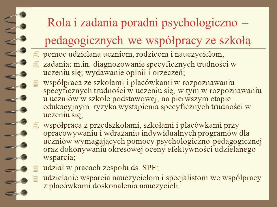 Rola i zadania poradni psychologiczno – pedagogicznych we współpracy ze szkołą