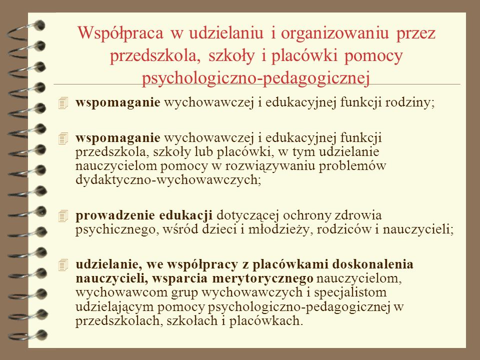 Współpraca w udzielaniu i organizowaniu przez przedszkola, szkoły i placówki pomocy psychologiczno-pedagogicznej