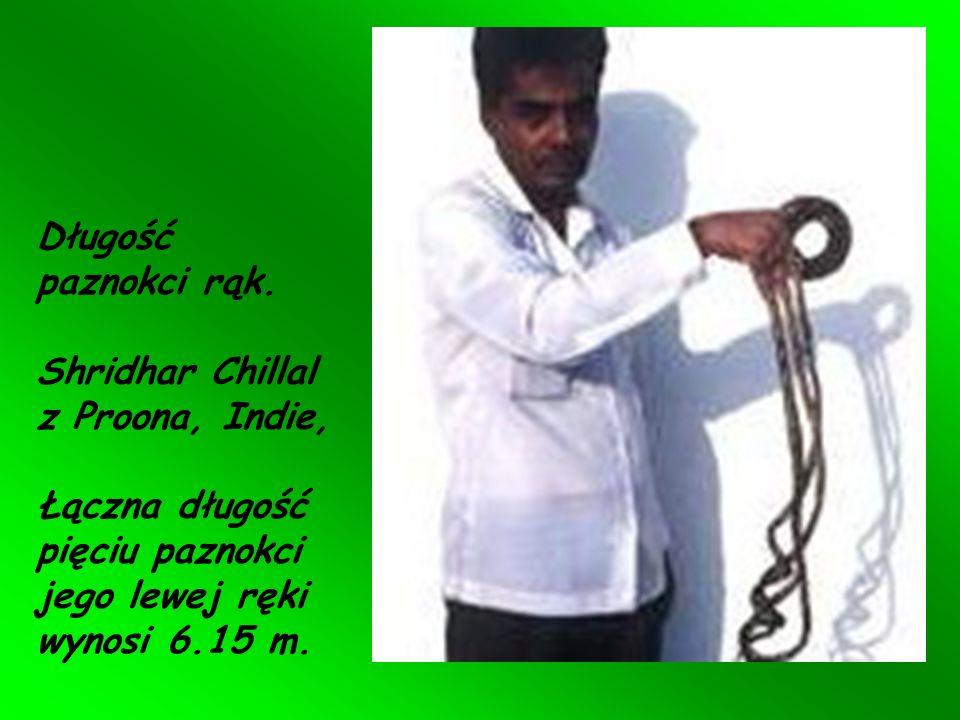 Długość paznokci rąk.Shridhar Chillal z Proona, Indie, Łączna długość pięciu paznokci jego lewej ręki wynosi 6.15 m.