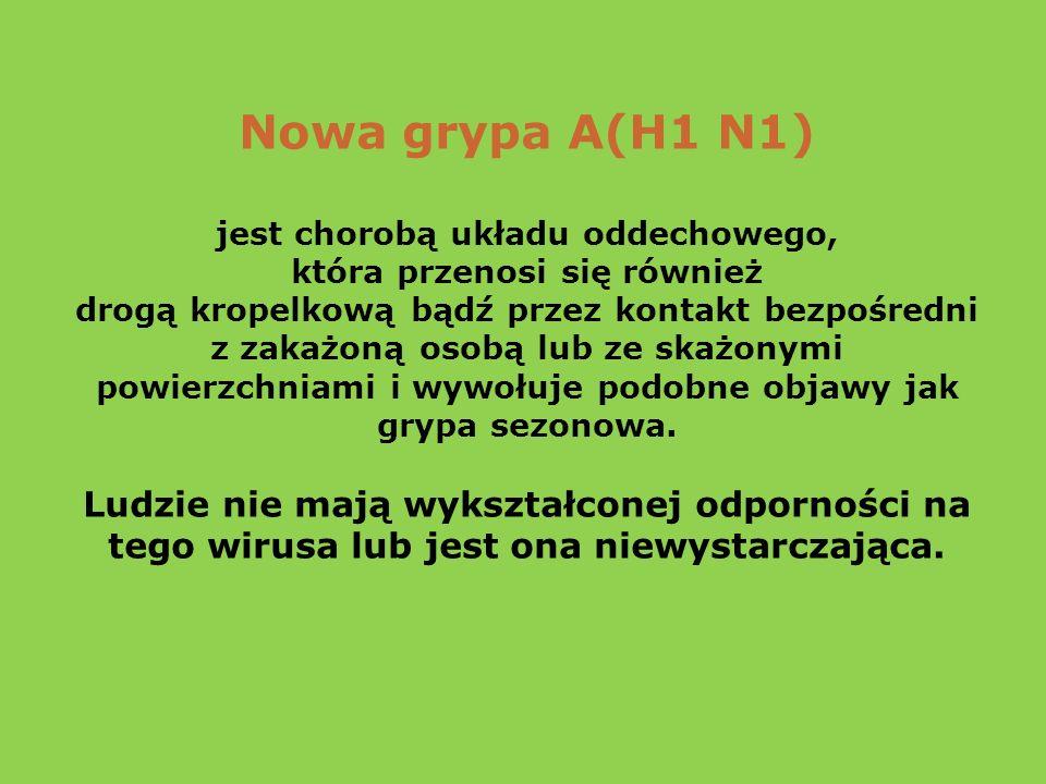 Nowa grypa A(H1 N1) jest chorobą układu oddechowego, która przenosi się również. drogą kropelkową bądź przez kontakt bezpośredni.