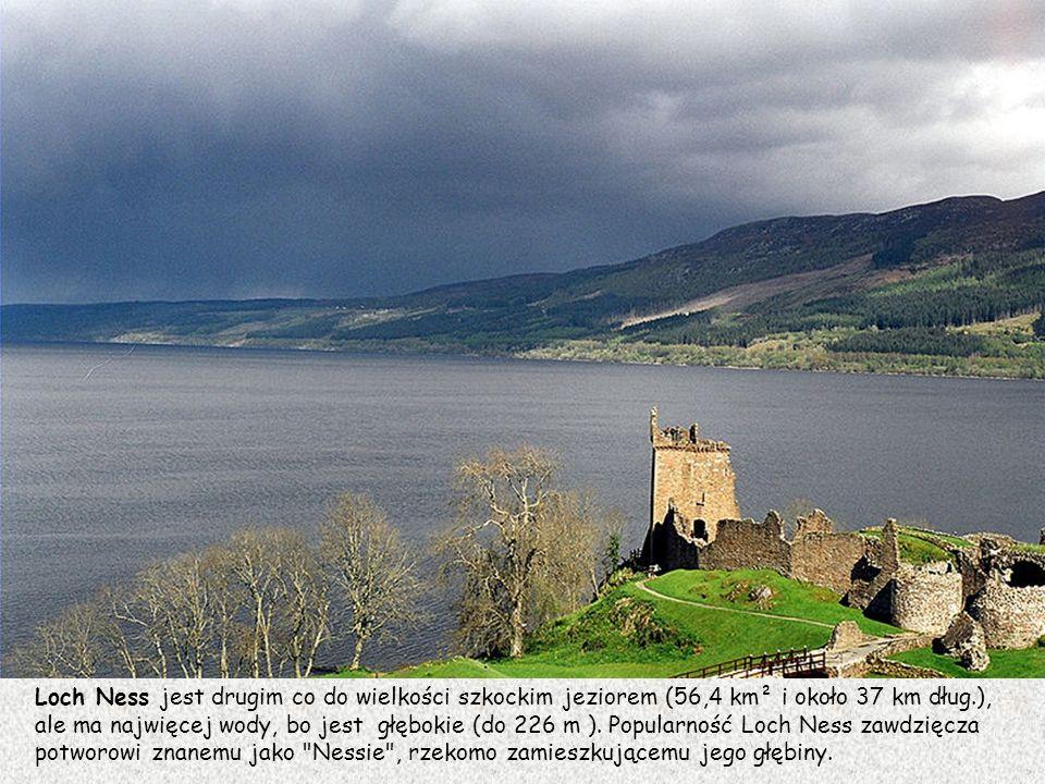 Loch Ness jest drugim co do wielkości szkockim jeziorem (56,4 km² i około 37 km dług.),