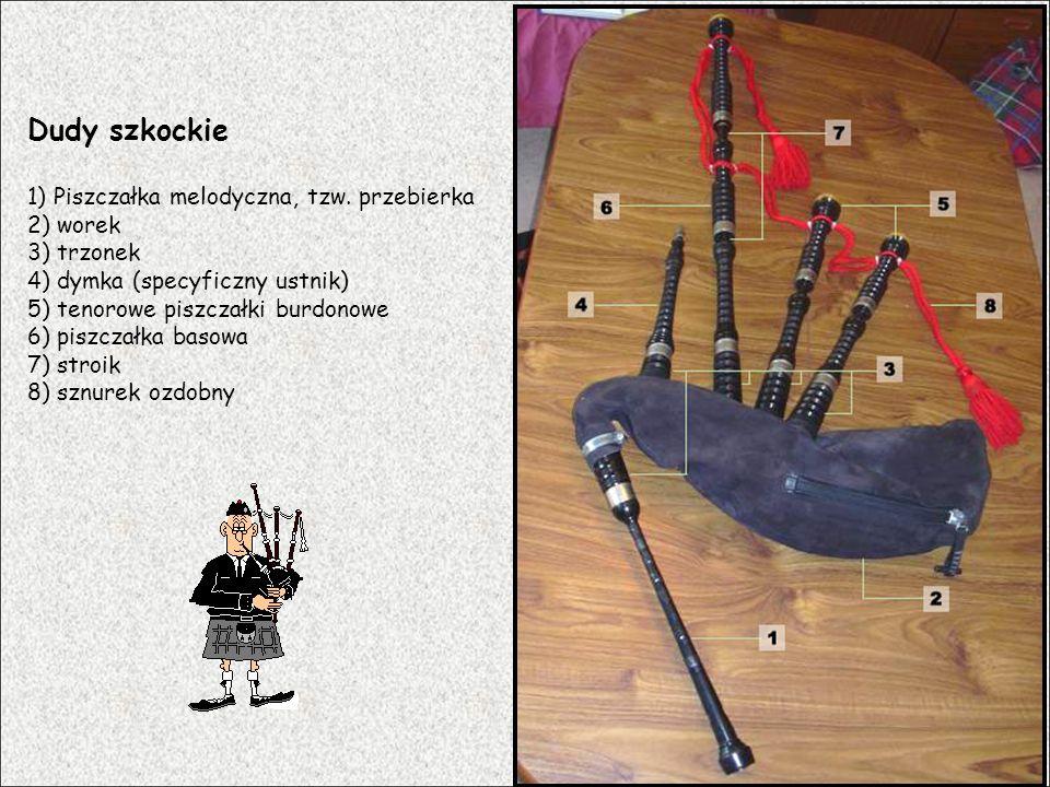 Dudy szkockie 1) Piszczałka melodyczna, tzw. przebierka 2) worek