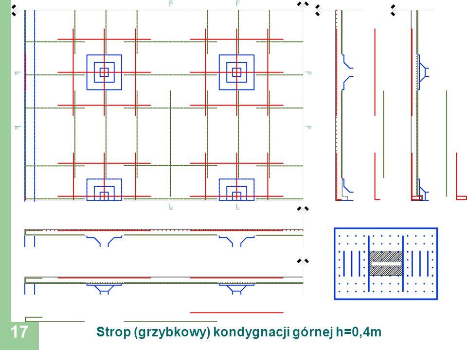 Strop (grzybkowy) kondygnacji górnej h=0,4m