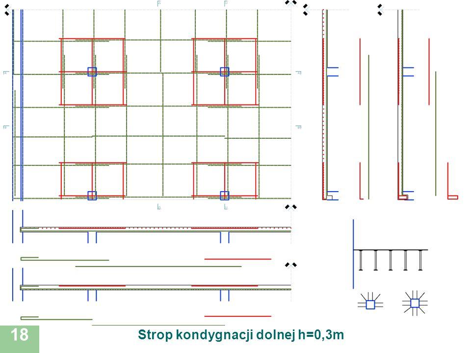 Strop kondygnacji dolnej h=0,3m