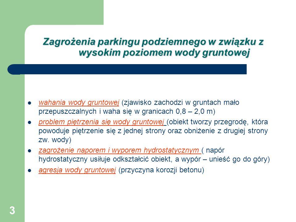 Zagrożenia parkingu podziemnego w związku z wysokim poziomem wody gruntowej