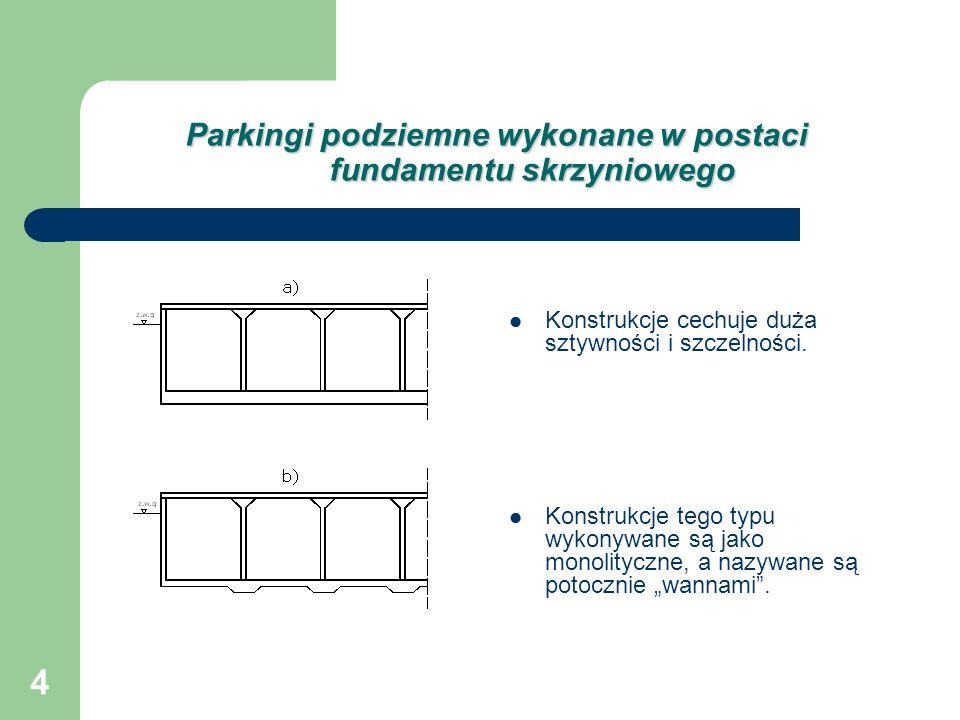 Parkingi podziemne wykonane w postaci fundamentu skrzyniowego