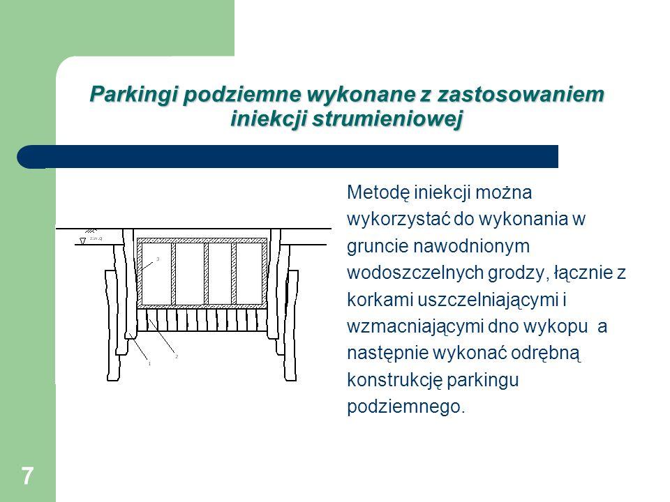 Parkingi podziemne wykonane z zastosowaniem iniekcji strumieniowej