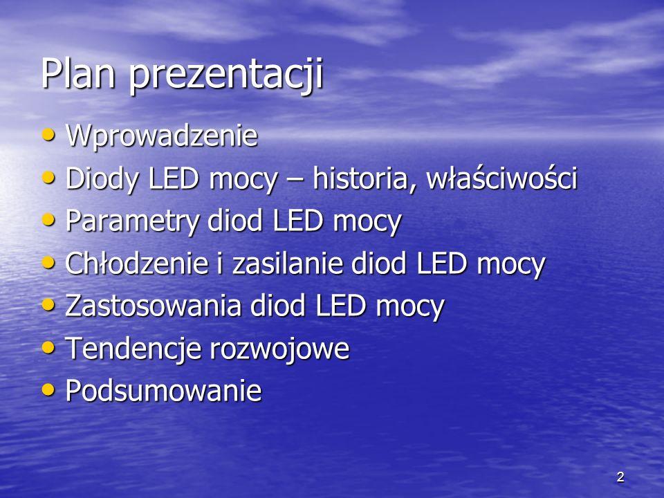 Plan prezentacji Wprowadzenie Diody LED mocy – historia, właściwości