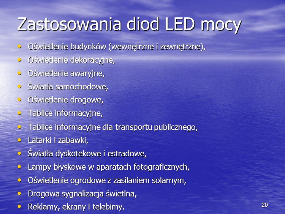 Zastosowania diod LED mocy