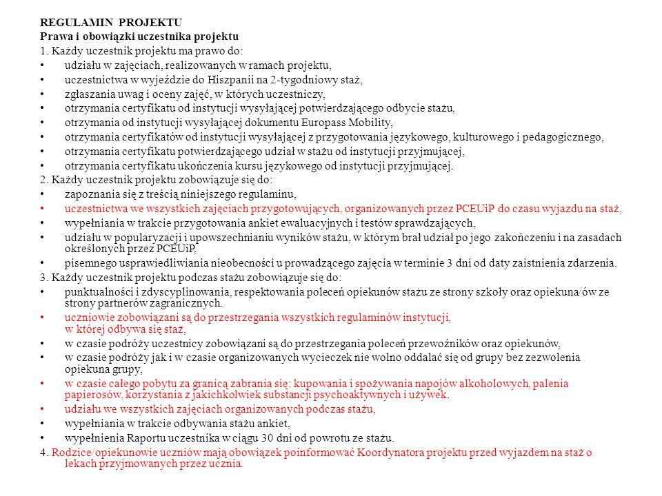 Prawa i obowiązki uczestnika projektu