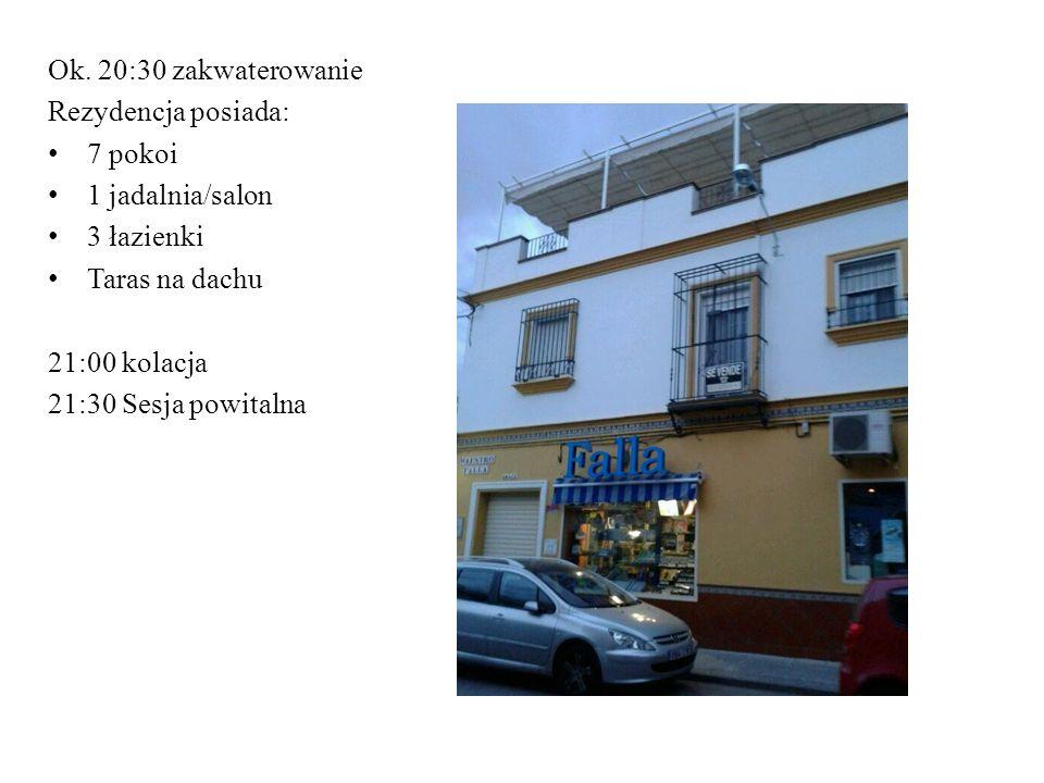 Ok. 20:30 zakwaterowanie Rezydencja posiada: 7 pokoi. 1 jadalnia/salon. 3 łazienki. Taras na dachu.
