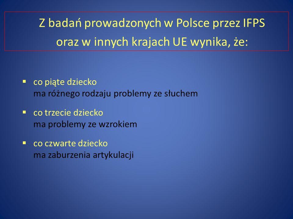 Z badań prowadzonych w Polsce przez IFPS oraz w innych krajach UE wynika, że: