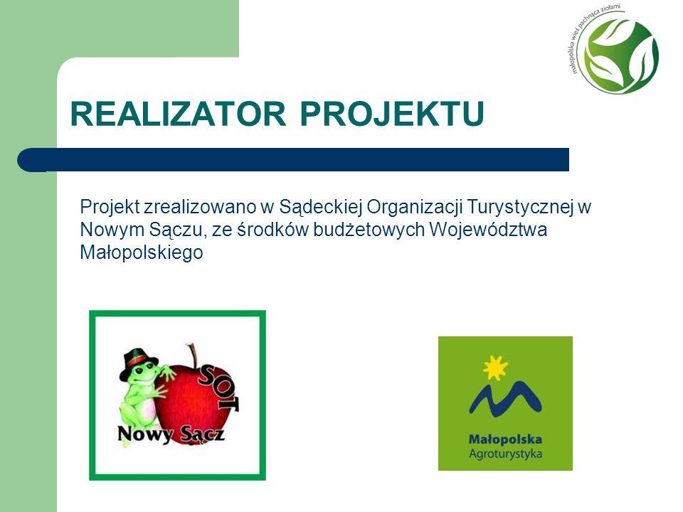 REALIZATOR PROJEKTU Projekt zrealizowano w Sądeckiej Organizacji Turystycznej w Nowym Sączu, ze środków budżetowych Województwa Małopolskiego.