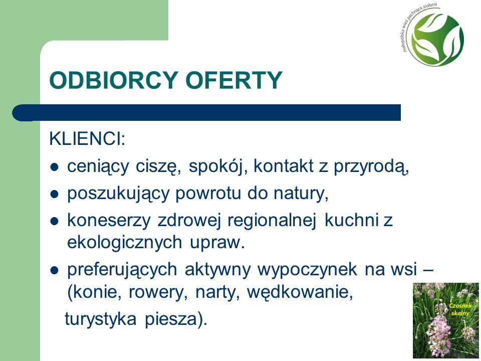 ODBIORCY OFERTY KLIENCI: ceniący ciszę, spokój, kontakt z przyrodą,
