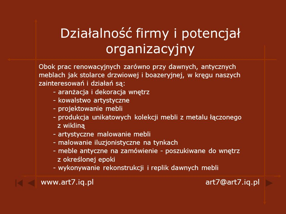 Działalność firmy i potencjał organizacyjny