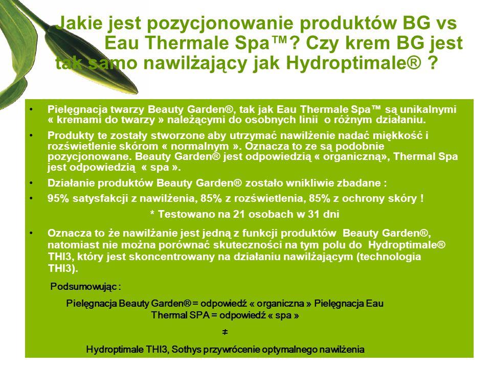 Jakie jest pozycjonowanie produktów BG vs. Eau Thermale Spa™