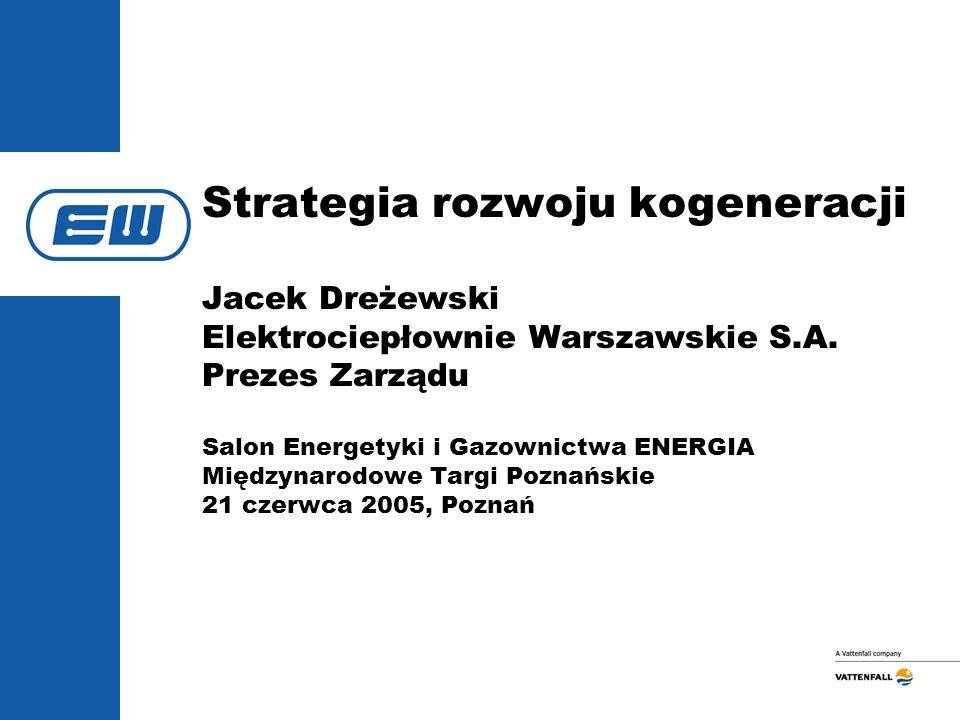 Strategia rozwoju kogeneracji Jacek Dreżewski Elektrociepłownie Warszawskie S.A.