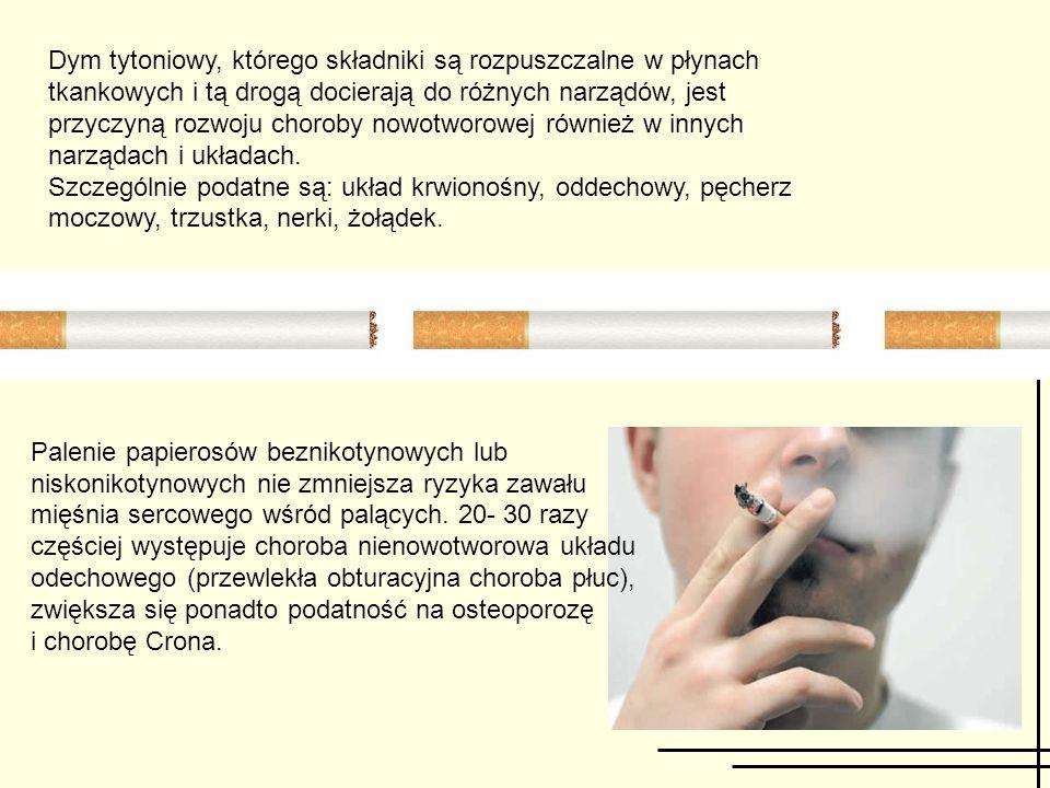 Dym tytoniowy, którego składniki są rozpuszczalne w płynach tkankowych i tą drogą docierają do różnych narządów, jest przyczyną rozwoju choroby nowotworowej również w innych narządach i układach.