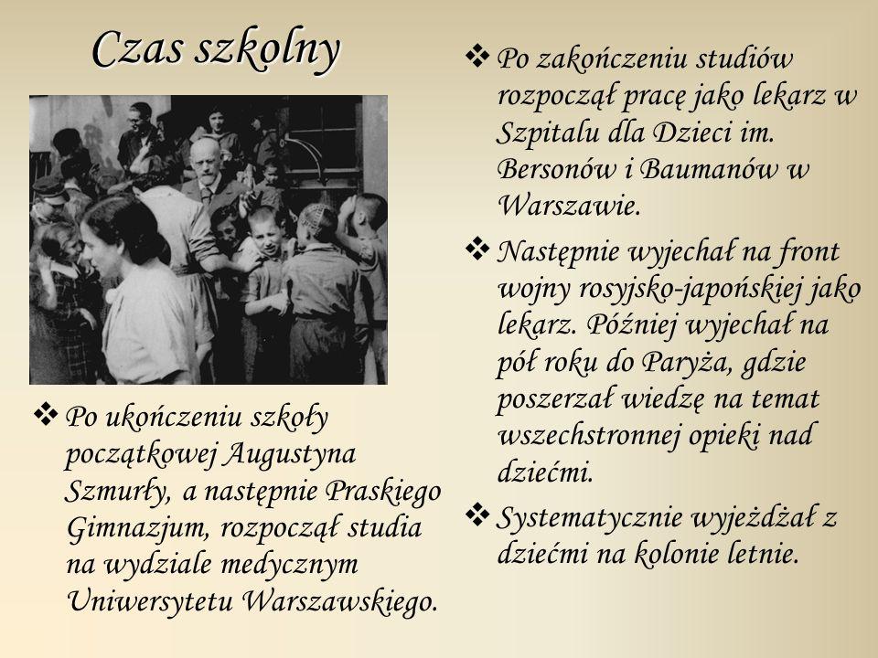 Czas szkolny Po zakończeniu studiów rozpoczął pracę jako lekarz w Szpitalu dla Dzieci im. Bersonów i Baumanów w Warszawie.