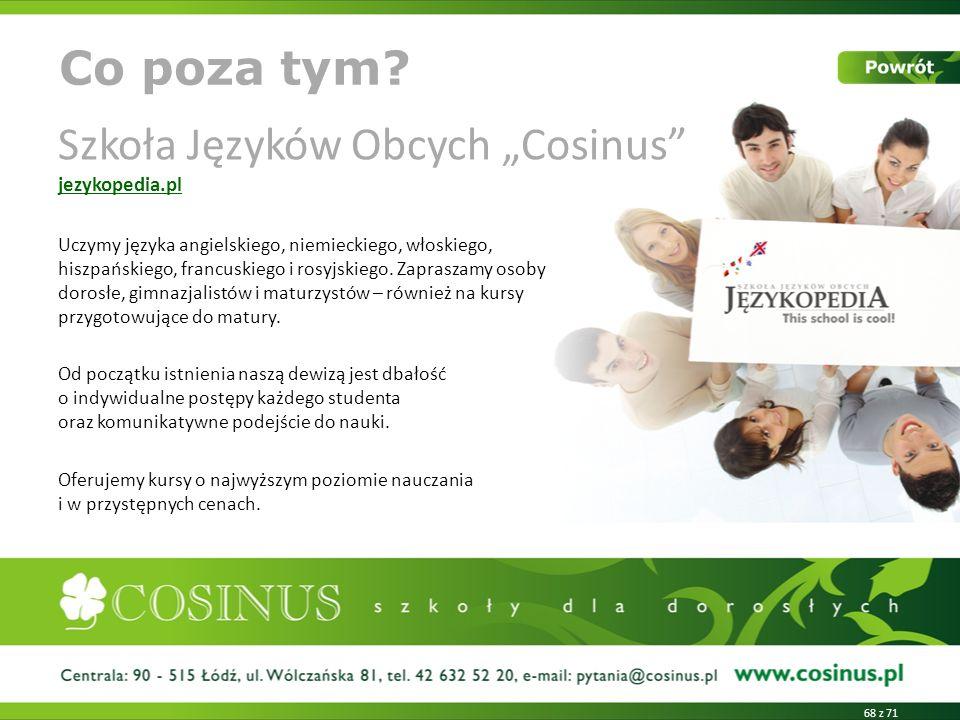 """Szkoła Języków Obcych """"Cosinus jezykopedia.pl"""