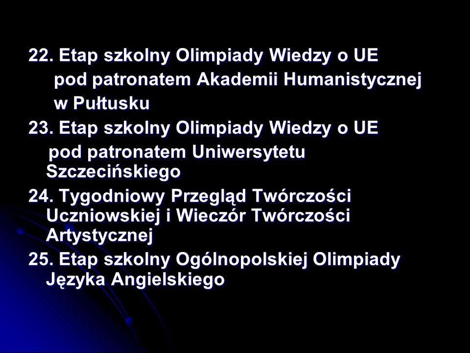 22. Etap szkolny Olimpiady Wiedzy o UE