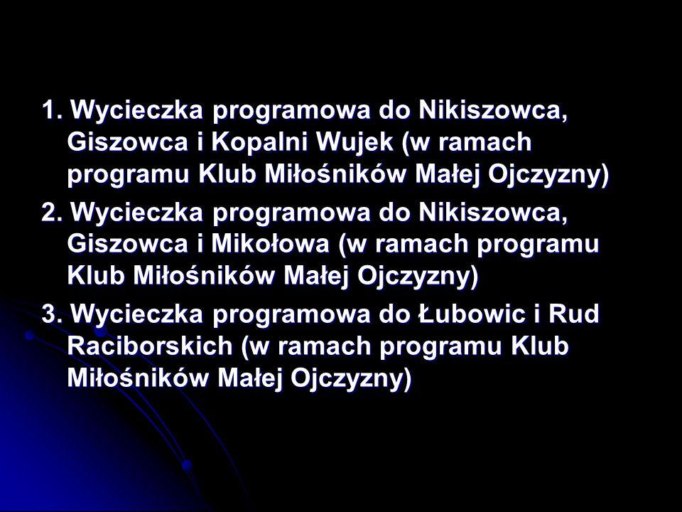1. Wycieczka programowa do Nikiszowca, Giszowca i Kopalni Wujek (w ramach programu Klub Miłośników Małej Ojczyzny)