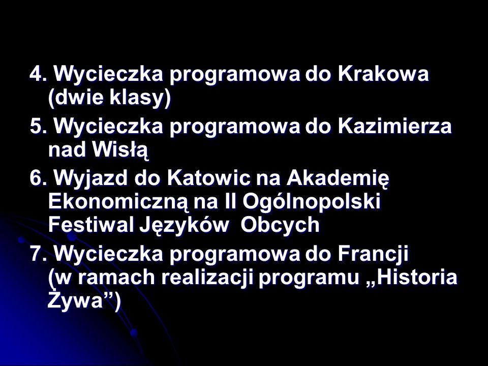 4. Wycieczka programowa do Krakowa (dwie klasy)