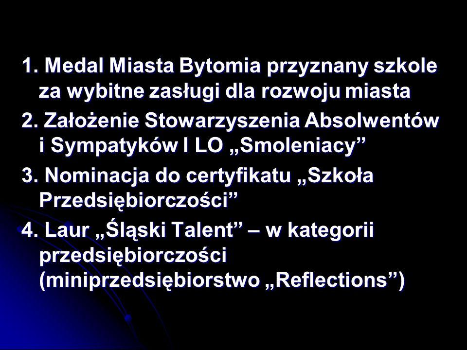 1. Medal Miasta Bytomia przyznany szkole za wybitne zasługi dla rozwoju miasta
