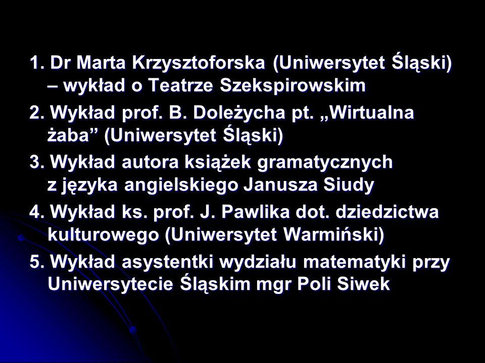 1. Dr Marta Krzysztoforska (Uniwersytet Śląski) – wykład o Teatrze Szekspirowskim